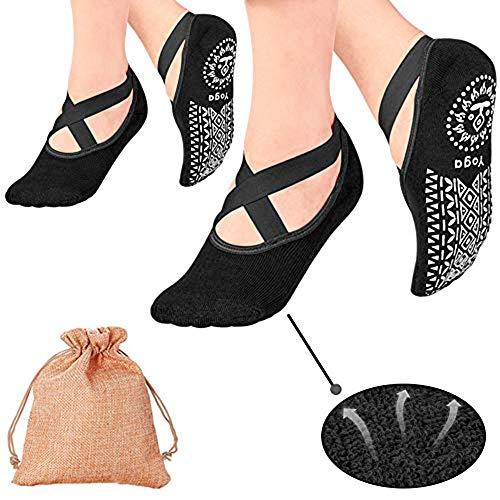 Yoga Socks, 2 Packs Pilates Socks Non Slip Women - Rendvieet Slip Grips & Straps Ideal for Pure Barre, Ballet, Dance, Barefoot Workout