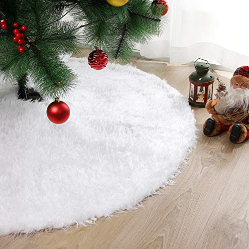Tappeto per Albero di Natale 78cm Copri Base Albero Natale Tappetino Gonna Albero di Natale Bianca di Pelliccia sotto Albero Natale,Copri Piede Addobbi Decorazioni per Albero di Natale