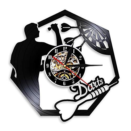 XYVXJ Arte de Pared de Dardos Reloj de Pared con Registro de Vinilo Hombre Cueva Pub Club Sala de Juegos Tablero de Dardos Decoración Colgante de Pared Moderno