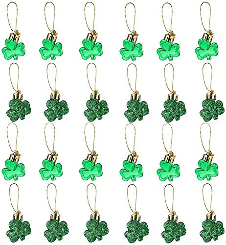 24 Pieces St Patrick#039s Day Shamrocks Ornament Good Luck Clover Hanging Bauble Trefoil Pendant Decoration for Tree Table Shelf Irish Festival