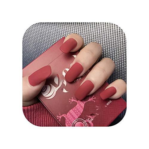 24Pcs / Boxed Pure Color Matte Mittellanger quadratischer Kopfdruck auf Nägel Mädchen Tragbare Acryl-Fingernägel mit Vollabdeckung und Kleber-as show-