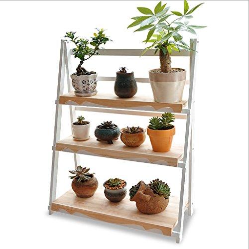 CHX Stand de fleurs en bois massif Type de plancher Salon Trois couches Pliant Balcon Pot de fleurs Stand