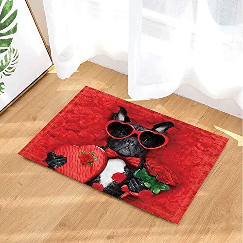 Valentijnsdag decoratieve bulldog hondenmand rood rozenblaadjes met geschenken Kinderbadkamer tapijt toiletdeur mat woonkamer 40X60CM badkameraccessoires
