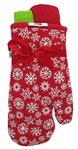 Dei Christmas Morning Snow Flake Oven Mitt and Dish Towel Set (Red)