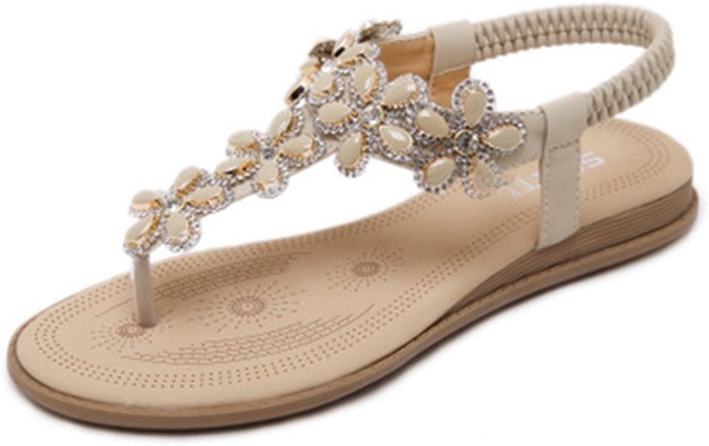 GIY Bohemian Flat Flip Flops Sandals for Women with Flowers Comfort Platform Elastic Summer Beach Thong