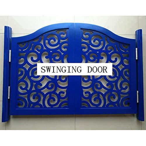 GuoWei Saloon Door Cafe Door Swinging Door Pine Wood Decora Bar Restaurant Kitchen Closet Entrance Doorway Decoration, Hinge Included, Support Customize (Color : Blue, Size : 90x80cm)