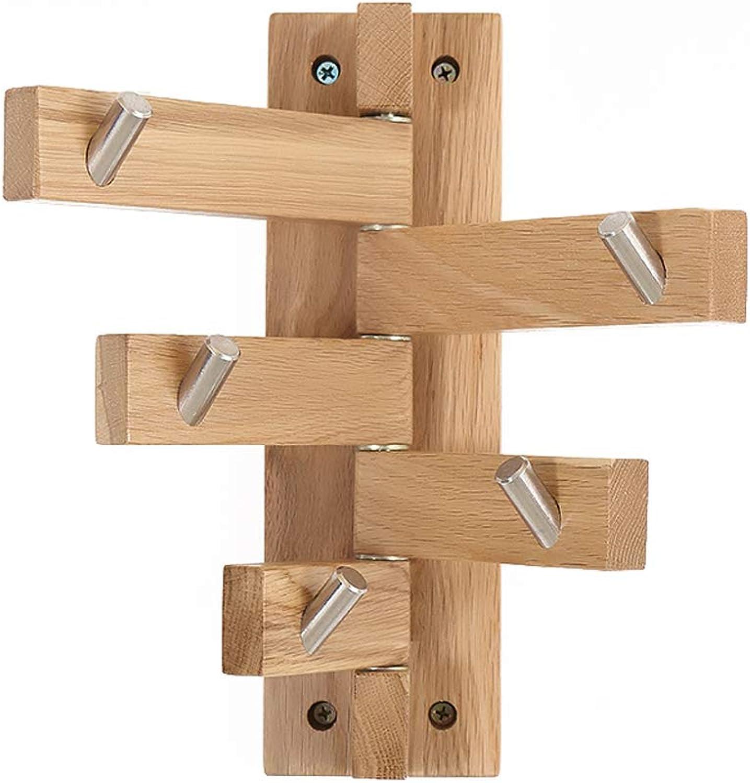 JQWGYYMJ Coat Rack, 8×26cm-Nordic Creative Wall Hook Coat Rack Modern Minimalist Oak Wall Hanging Rack Solid Wood color