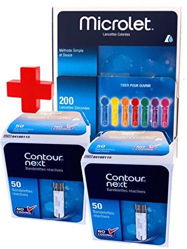 Contour Next test glicemia strisce di 100 pezzi + Lancette Microlet, 200 unità