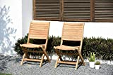 Amazonia Dublin 2-Piece Outdoor Folding Chairs | Certified Teak | Ideal for Patio and Indoors