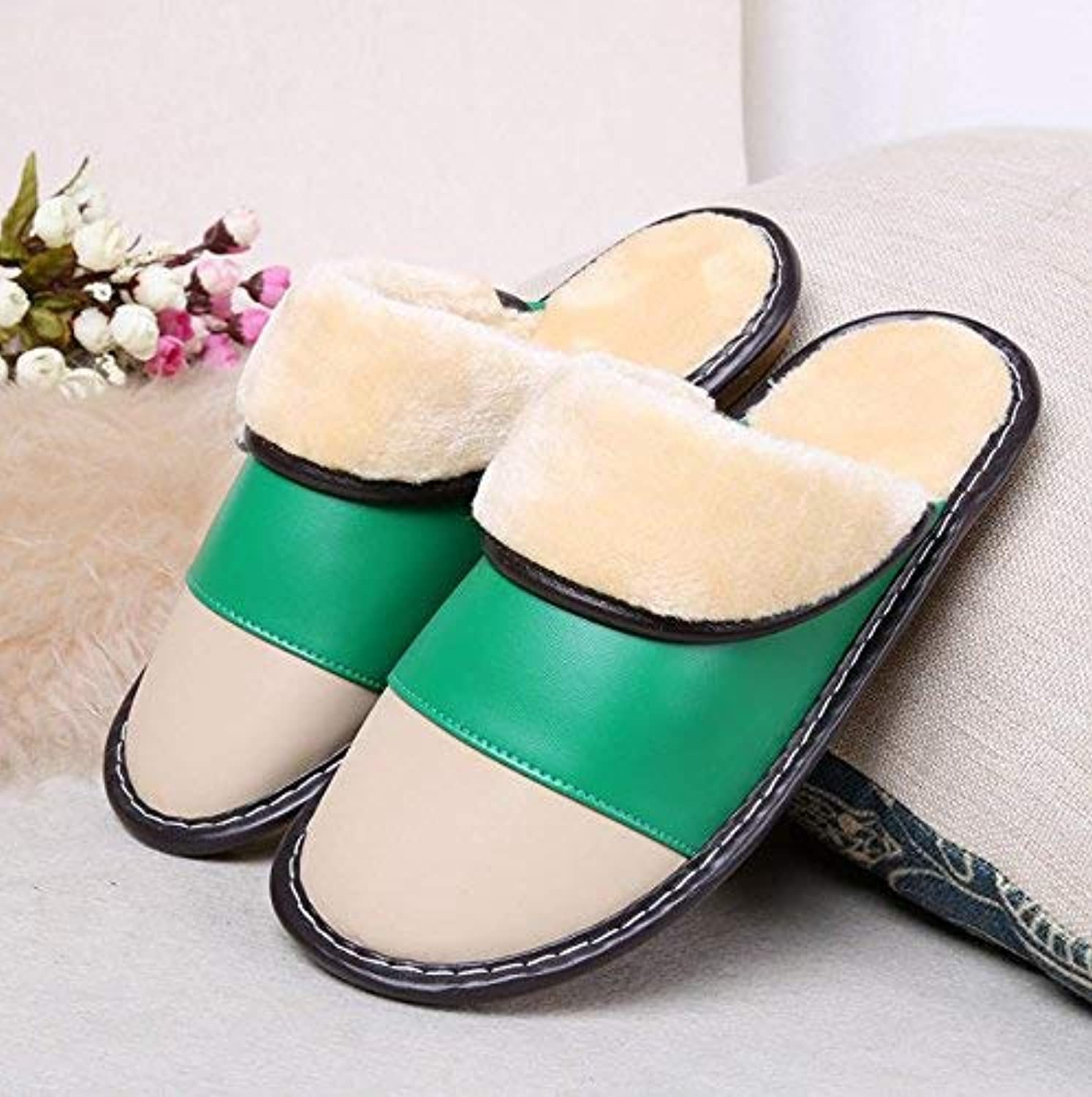 So8ooa Lady Slippers Women 's Home Leather Slippers Indoor Keep Warm Casual Slippers Green Mixed color Personality Quality for Women