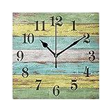 Emoya - Reloj de pared cuadrado, color azul, amarillo, vintage, madera, estilo retro, silencioso, sin tictac, 20 cm