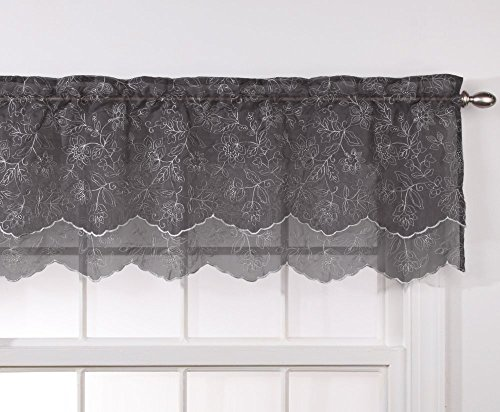 Stylemaster Renaissance Home Fashion Reese Embroidered Sheer Layered Scalloped Valance, 55-Inch by 17-Inch, Charcoal
