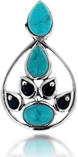 925 Oxidized Sterling Silver Blue Turquoise and Black Spinel Gemstone Tear Drop Pendant