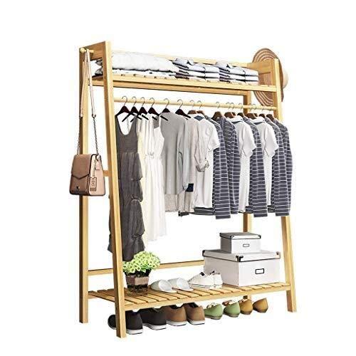 Percheros QWER Escudo Dormitorio de Almacenamiento multifunción Soporte de Marco de bambú Soporte Oficina del Corredor Garaje for Suelo
