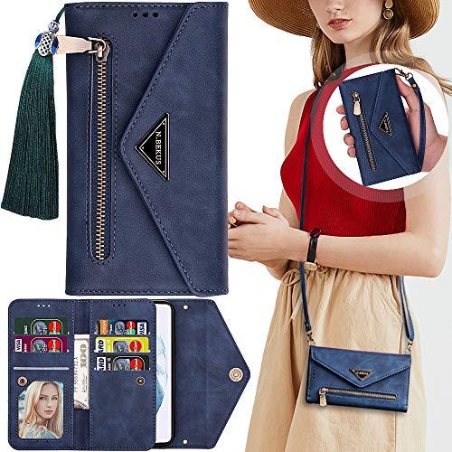 Casmyd - Custodia a portafoglio per Xiaomi Redmi Note 7 con cinghia, con supporto magnetico per 7 carte di credito, chiusura a portafoglio in pelle con chiusura lampo