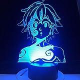 Lámpara de anime 3D Meliodas Dragon Wraith Ban Fox codicia oso grizzly Bear Los siete pecados mortales Meliodas luz...