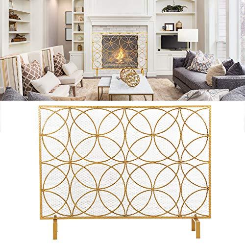 Dioche Parrilla para chimenea, protección para estufa y chimenea, de hierro, pantalla antiincendios, 103 x 23 x 78 cm, color dorado