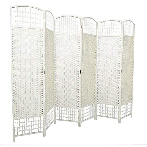 Biombo separador de ambientes, 6 paneles, biombo plegable para privacidad, biombo de madera, 240 x 170 cm (crema)
