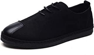 HaiNing Zheng Athletic Sneaker for Men Sport Matte Shoes Lace up Simulated Suede Leather Stitching Outdoor Summer Casual (Color : Black, Size : 8 UK)