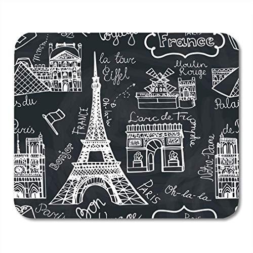 Mauspadmatte, 01 11 2014 Kritzeleien berühmtes Pariser Wahrzeichen Notre Dame Eiffelturm-Bogen...