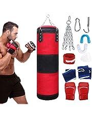 Fansport 11 pcs Saco De Boxeo,Punching Bag Sin Relleno Con Guantes De Entrenamiento Tailandeses Con Soporte Pared Cadena