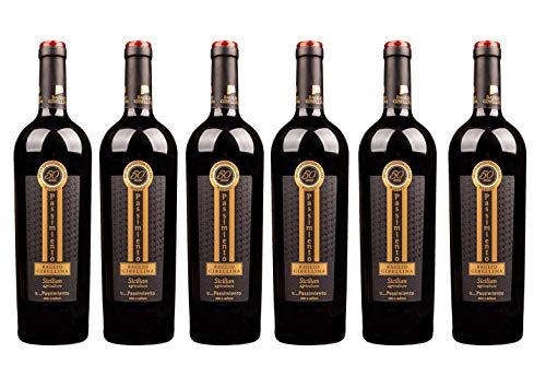 6er Vorteilspaket Passimiento DOC 2019   Weingut Baglio Gibellina   Rotwein aus Sizilien   trocken   6 x 0,75l mit Weinausgießer Dropstop