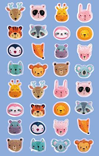Avery Zweckform 32 Stück Glossy Sticker (Tiere Aufkleber im 3D Effekt, Kindersticker zum Spielen, Basteln Sammeln) Art. 57300