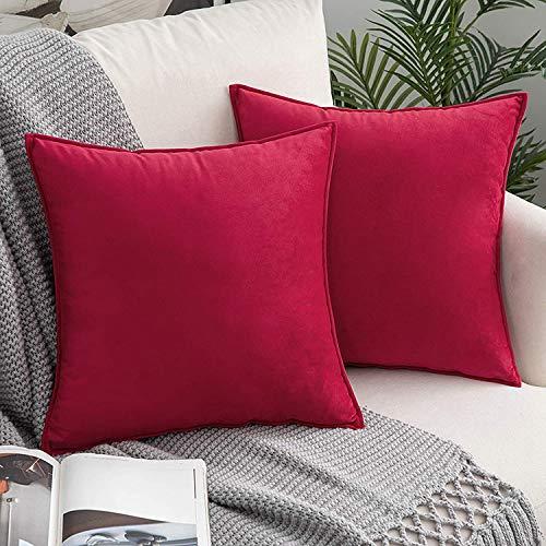 DAOXU 45x45 Funda de cojín de Terciopelo para Ropa de Cama, Paquete de 2, Funda de Almohada Decorativa para sofá y Funda de sofá (Rojo, 45x45cm(2pcs))