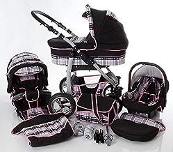 Cochecito de bebe 3 en 1 2 en 1 Trio Isofix silla de paseo D-Deluxe by SaintBaby negro & cuadros gris & costuras rosa 3in1 con Silla de coche