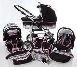 Cochecito de bebe 3 en 1 2 en 1 Trio Isofix silla de paseo D-Deluxe by SaintBaby negro & cuadros gris & costuras rosa 2in1 sin Silla de coche