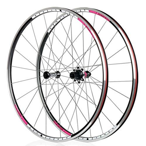 LSRRYD Ciclismo Ruedas Juego de Ruedas Racing Road Bike 700C Aleación V Freno 8 9 10 11 Velocidad Liberación rápida Casete Doble Pared (Color : Pink)