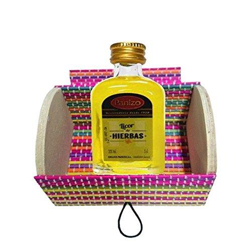 Baúl de madera multicolor con miniatura licor de hierbas de Panizo (Pack...