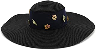 New Sunshade Hats Beach Hat Korean Version of Wild Women Summer Vacation Ribbon Sunscreen Sun Hat` TuanTuan (Color : Black, Size : 56-58CM)