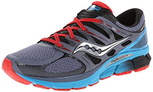 Saucony Men's Zealot-ISO Series Running Shoe,Grey/Blue/Red,8.5 M US
