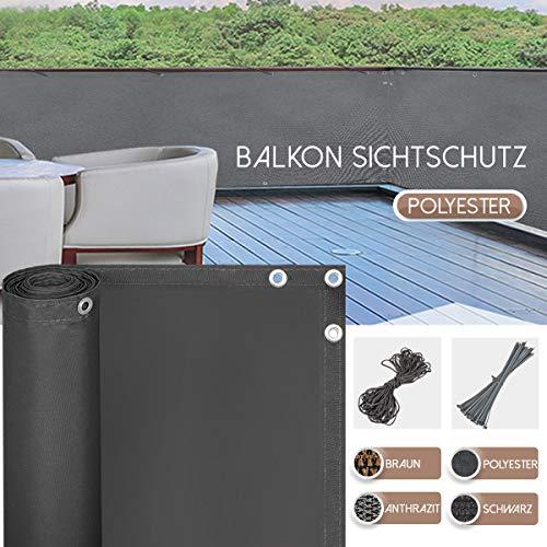 BeMax Balkon Sichtschutz, Balkonverkleidung mit Kabelbinder, Balkonbespannung, Sonnenschutz Sonnensegel Windschutz Wasserdicht, Polyester, 90cm x 500cm Anthrazit