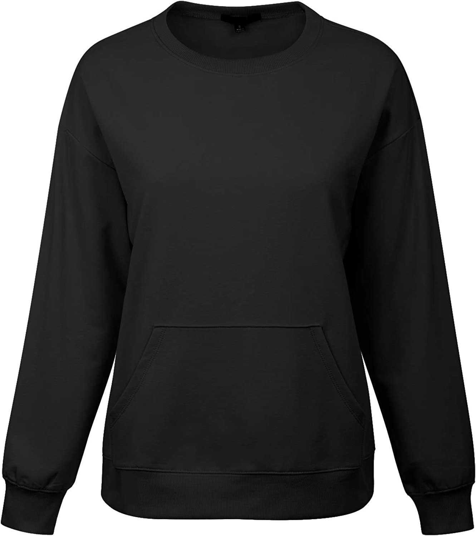 MixMatchy Womens Soft and Comfy Basic Pullover Crewneck Fleece Sweatshirt