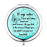 Sister Gifts from SiSter,Sister Birthday Gift Ideas,Inspirational Engraved Compact Mirror