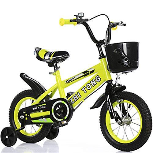 ZGF Bicicleta Infantil, 12 14 16 18 Pulgadas Bicicleta para niños con Ruedas de Entrenamiento para niñas de 2 a 7 años de 27 a 35 Pulgadas de Alto, Bicicleta para niños pequeños,Amarillo,18
