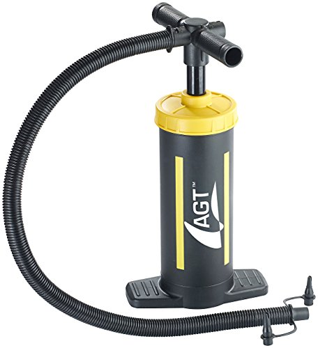 AGT Doppelhubpumpe: Doppelhub-Hand-Luftpumpe, 2 x 1,5 Liter Pumpleistung, 2 Ventilaufsätze (Doppelhub Luftpumpe Schlauchboot)