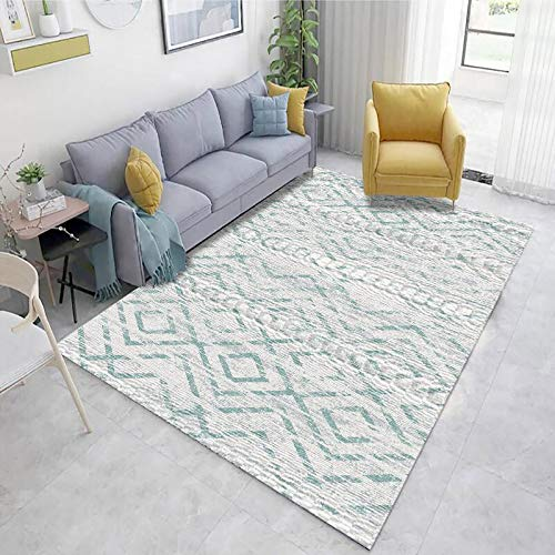 MMHJS European Fashion Geometric Carpet Simple Retro Non-Slip Absorbent Wear-Resistant Floor Mats Living Room Bedroom Hotel Kitchen Homestay Carpet