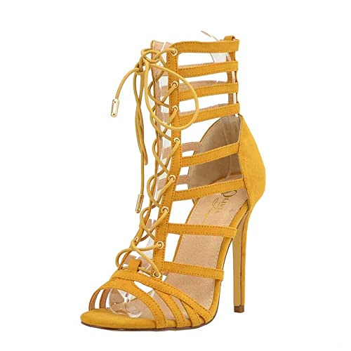 Olivia Jaymes Womens Casual Sandal Gladiator Caged Strappy Lace Up Stiletto Heel Sandals