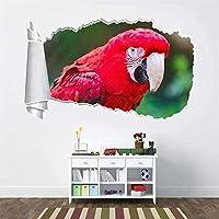 UYEDSRウォールステッカー赤いオウム3D引き裂かれた穴の壁のステッカーデカールアールデコ動物の鳥50x70cm