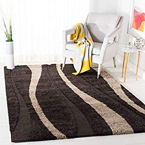 SAFAVIEH Florida Shag Collection SG451 Abstract Stripe Non-Shedding Living Room Bedroom Dining Room Entryway Plush 1.2-inch Thick Area Rug, 6′ x 9′, Dark Brown / Beige