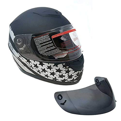 MMG 22 Motorcycle Full Face Helmet DOT Street Legal +2 Visors (Clear Shield and Free Smoked Shield) - Flag Patriot Matte Black, X-Large
