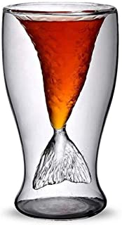 Mikilon Beer Glass, Premium Designer Mug with Insulated Double-Walled Design, 3.38-Ounces Mermaid Tail Shaped (Clear)