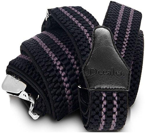 Decalen Tirantes para caballero con clips extra fuerte amplio 40 mm Adjustable Elastics Y forma (Negro Gris)