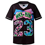 MOLPE 90s Hip Hop Clothing for Boys and Girls, Unisex Bel Air 23 Baseball Jersey, Youth Printed Urban Shirts for Party (Black, Youth-L)