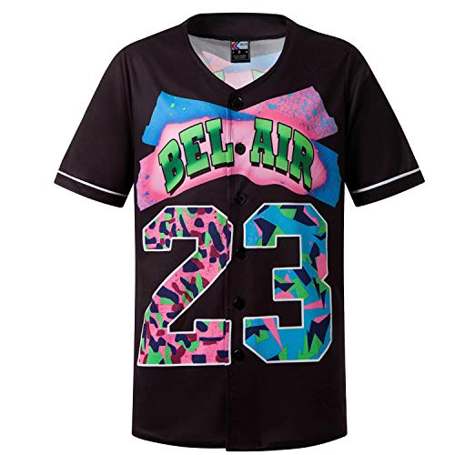MOLPE 90s Clothes for Men and Women, Bel Air 23 Cartoon Shirts Button Down, Short Sleeve Button Up Baseball Jersey for Party (Black, M)