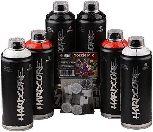 Juego de botes de spray MTN Hardcore negro, rojo y blanco brillante, 6 x 400 ml + cabezales de pulverización de repuesto