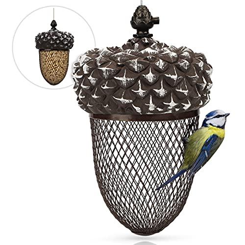 WILDLIFE FRIEND I Vogelfutterspender für Erdnüsse - Futterstelle Eichel - Erdnussfutterspender aus rostfreiem Metall, Vogel-Futterstation zum Aufhängen – Futtersilo Eichelform für Wildvögel